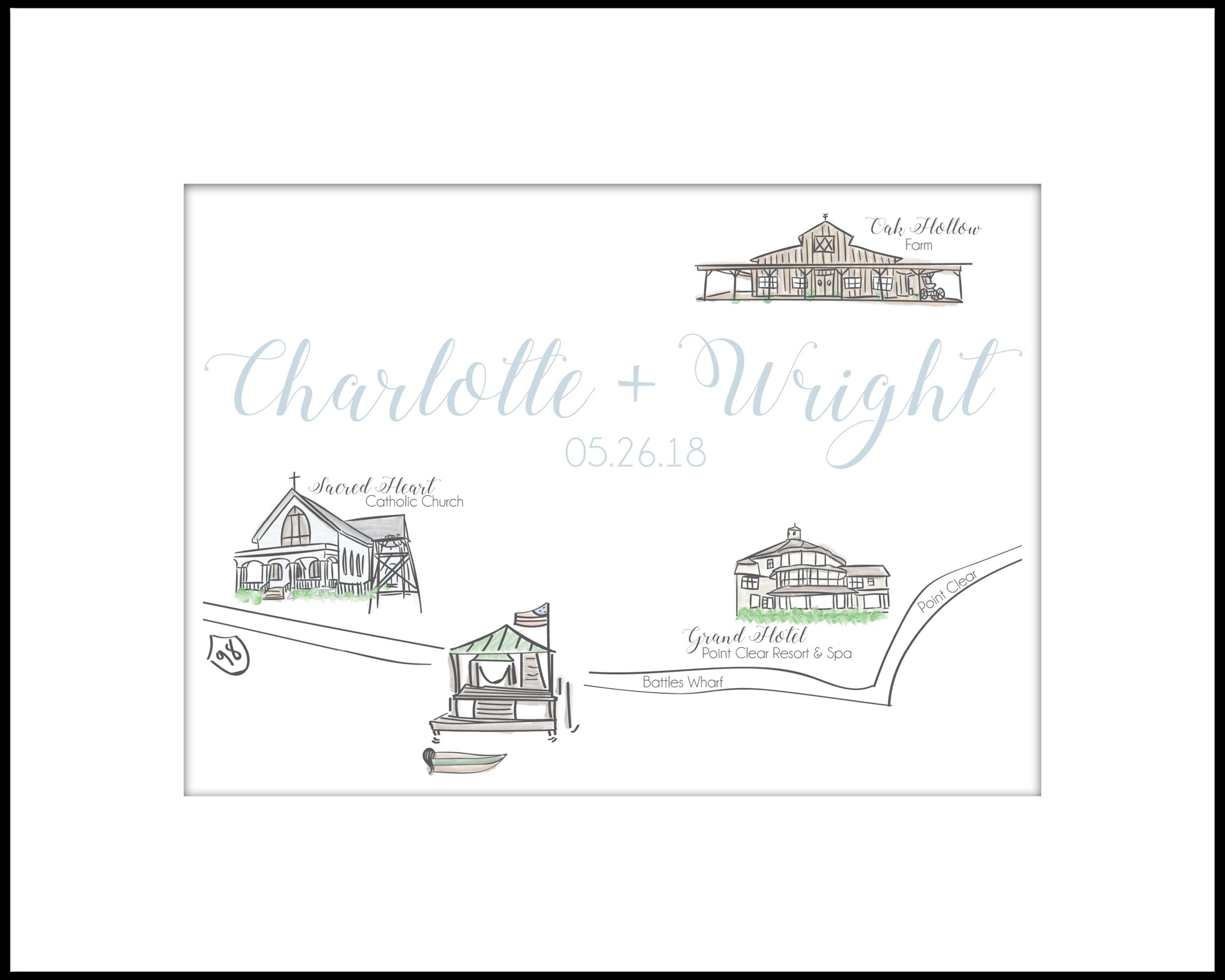 Cox Wedding Map // Battles Wharf, AL