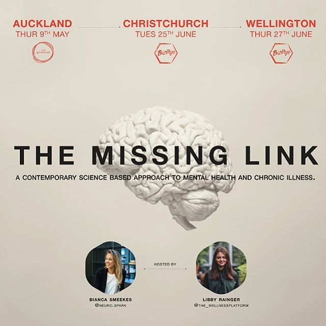AND WE'RE BACK! 🧠🙌🏽 ⁣⁣ After some really positive feedback and lots of interest after our Auckland event, we've decided to bring The Missing Link to Christchurch and Wellington next month! ⁣⁣ Come and join us at @bizdojochch & @bizdojo Market Lane, for a night of neuroscience & psychology, and walk away with a new perspective on mental health & illness recovery.⁣⁣ ⁣⁣ This event is open to all - health professionals, anyone dealing with a chronic health issue, or those who just to be equipped with some new tools for mindset training. 💫💡⁣⁣ ⁣⁣ We have limited tickets for $39, so check out the the link in bio for more info👈🏽