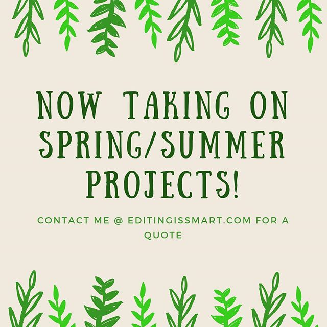 Let me help make your writing extra fabulous this spring and summer! I'm looking for long-form projects from March onward, and I'm looking for short-term projects all the time. I offer developmental critiques, line edits, and proofreading. Reach out to me for a list of past projects, references, or a quote!✨ #writing #writingcommunityofinstagram #writersofinstagram #bookstagram #books #editing #selfpublished #selfpublishing #freelance