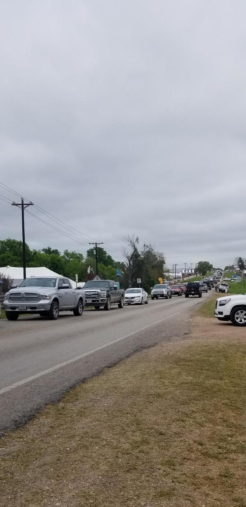 The traffic on the one-way-in, one-way-out road to Roundtop is like this everyday, for about 3 weeks.