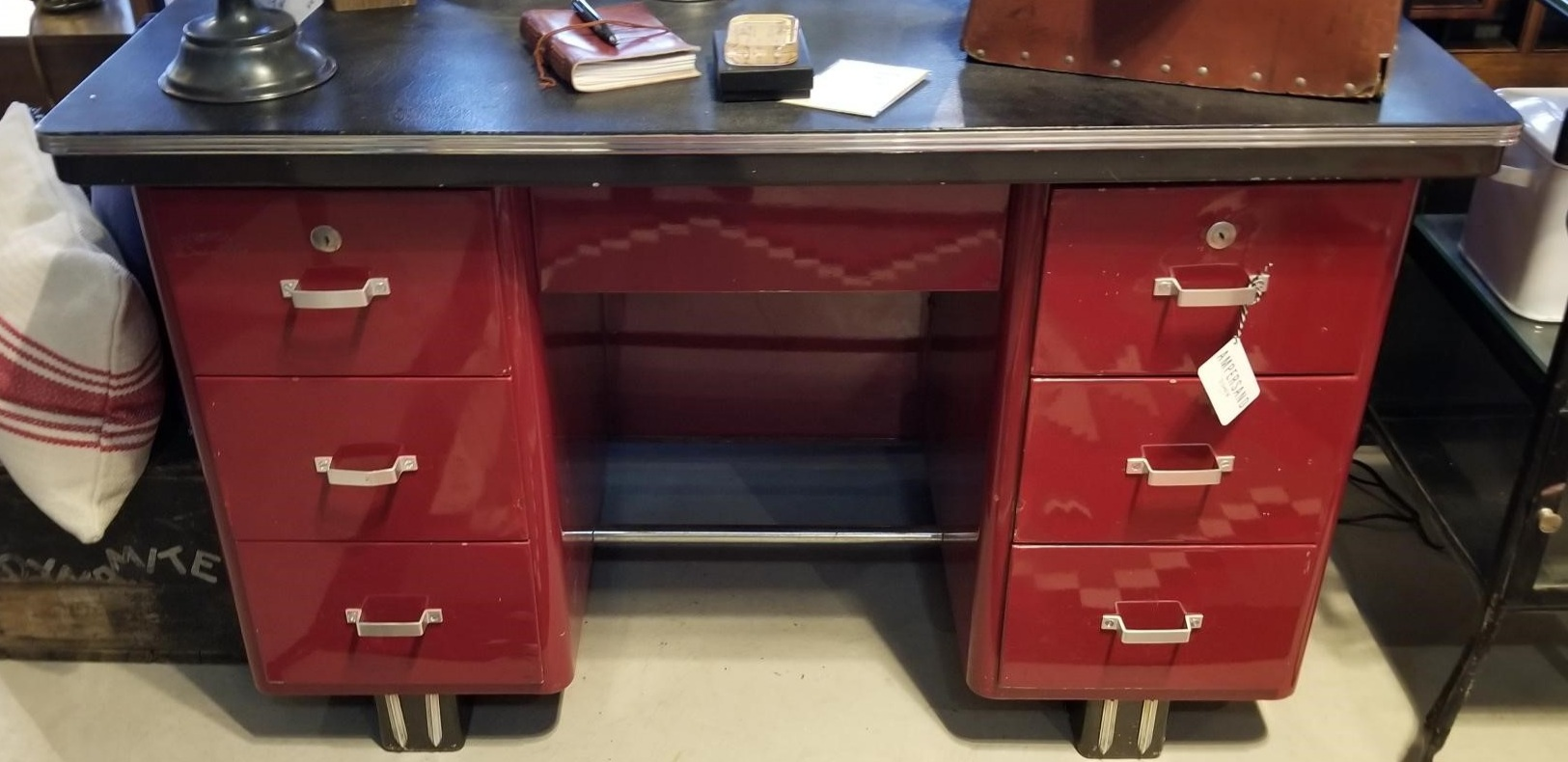 This Red Metal Desk is EVERYTHING! We were hell-bent on finding a desk at Round Top and saw only 2. But this one completely exceeded our wildest dreams. It's so gas-station-chic, so very Art Deco, so deliciously masculine, so intensely RED, and SO. INCREDIBLY.  HEAVY.  If I weren't in the business of selling things, I would build a house around this desk. NO LIE.