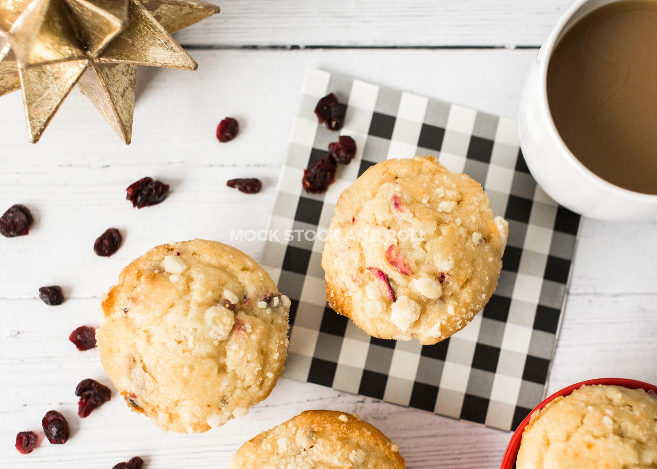 Bright and light fall styled stock photo with cranberry muffins and coffee from Mock Stock and Roll.