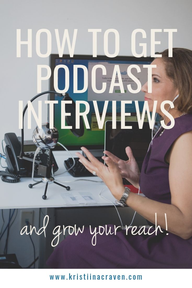 Ever wonder how to get booked on a podcast for an interview? I'm showing the exact steps I use to help clients get on podcasts! CLICK TO READ MORE :) | Kristiinacraven.com #virtualpublicist #podcast #podcastinterview #howtogetonpodcasts