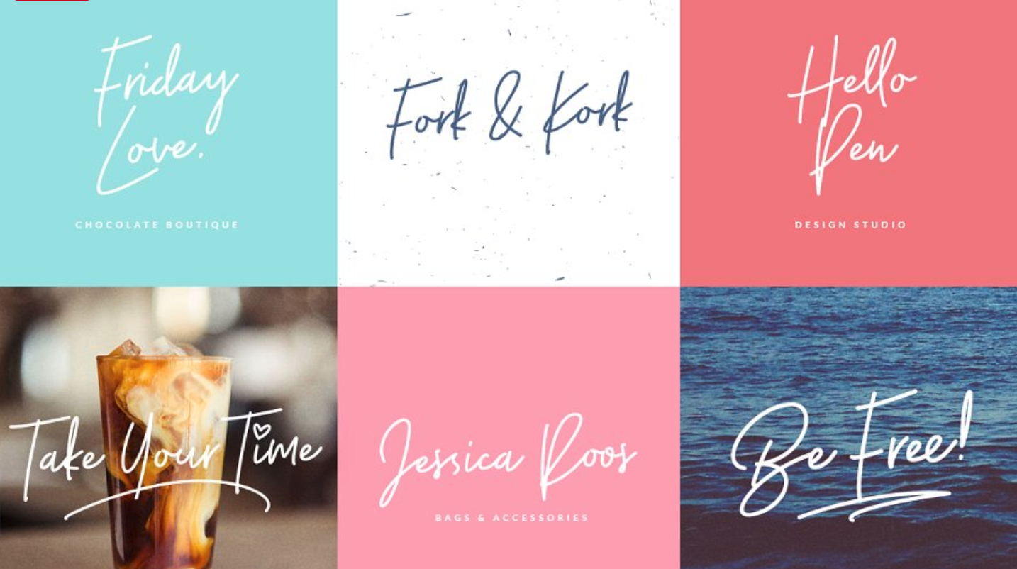 handwritten fonts on a colorful graphic from Creative Market