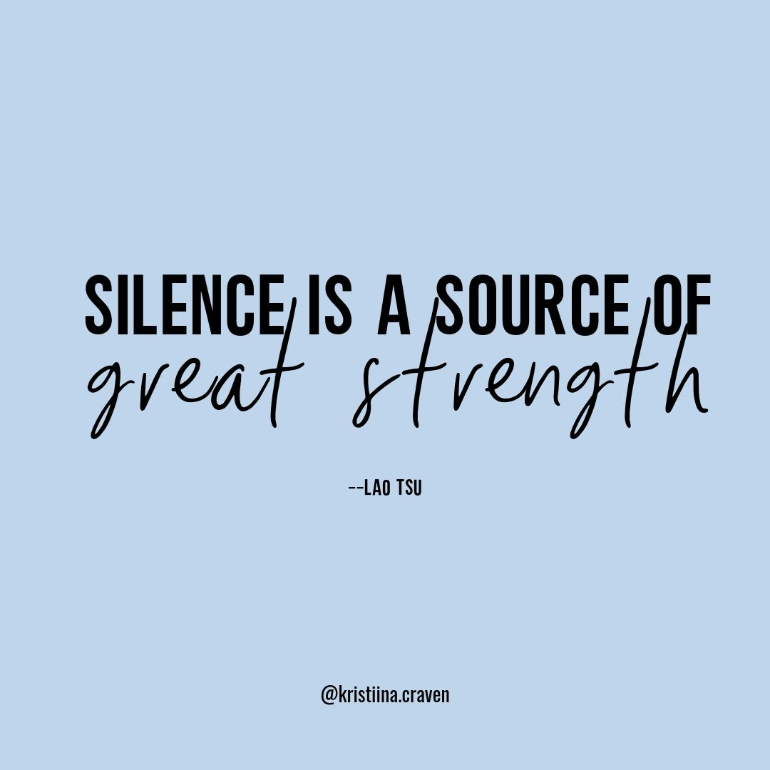 silence is a source of great strength quote post on blue background