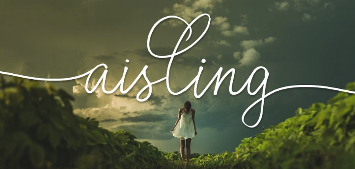 girl walking on green trail wil 'aisling' font overlay