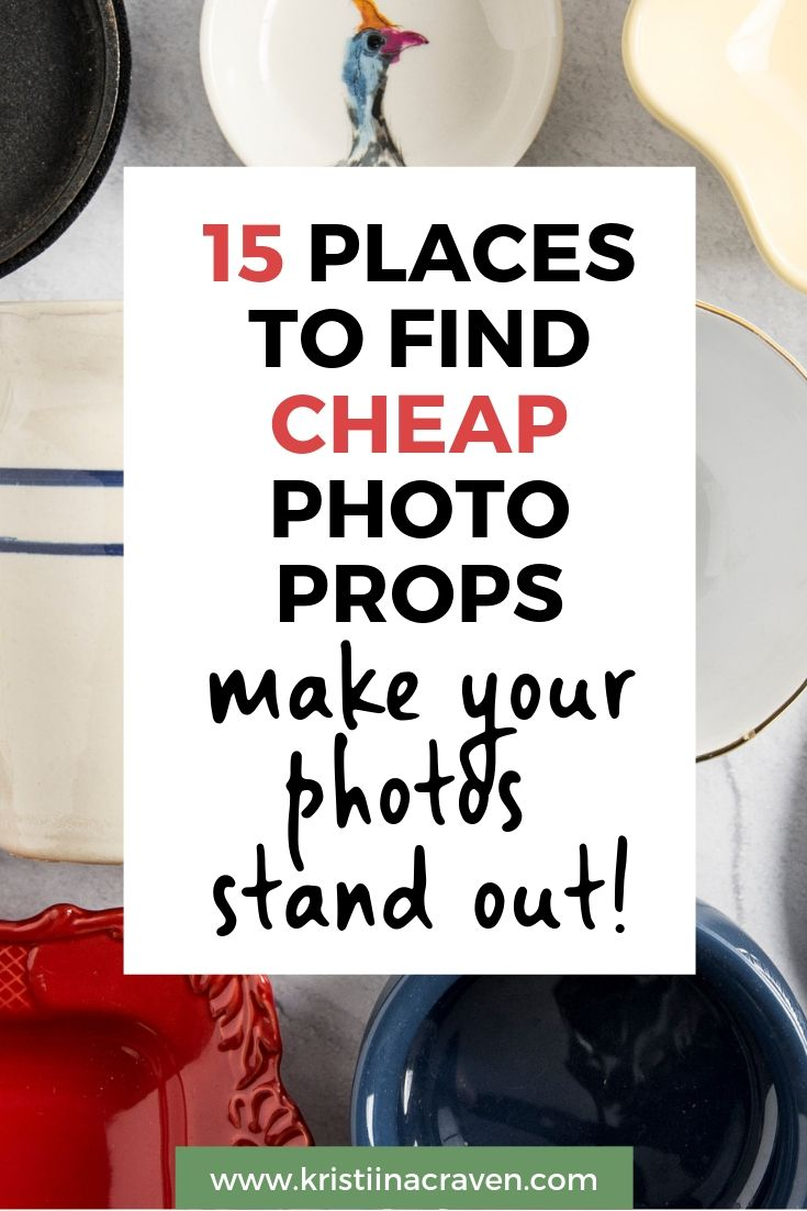 Inexpensive photo props are a great way to differentiate your photos and make your brand stand out from the pack! Here are 15 awesome ideas for places where you can find cheap photo props that add texture and personality. Great tips!! #makemoneyblogging #flatlayphototips #styledstock #styledstockphotography #phototips #bloggingtips #photoprops