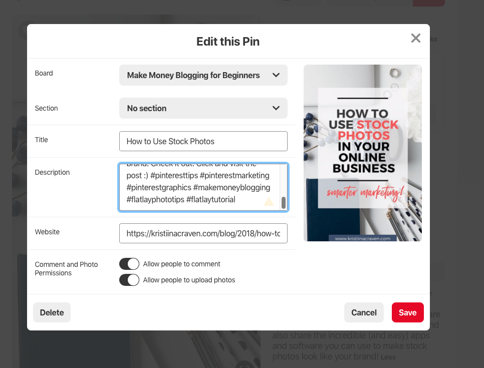 Are you using hashtags in your Pinterest strategy? Using hashtags in your pin description and board description is an important step in getting your Pinterest account optimized!