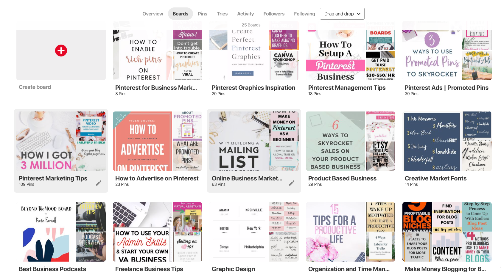 Have you cleaned up your Pinterest boards to reflect the customer you are trying to attract? Don't muddy the waters with personal boards—make them private! Getting clear with your board names makes it easy for Pinterest to know who you are trying to reach.