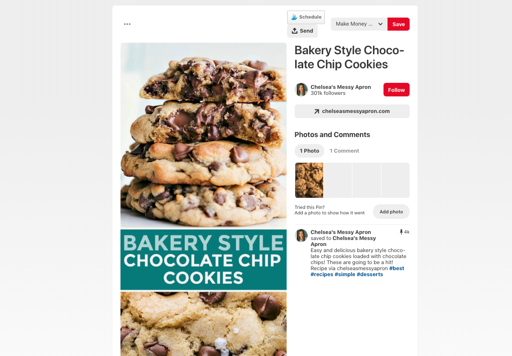 example of a chocolate chip cookie pin on pinterest