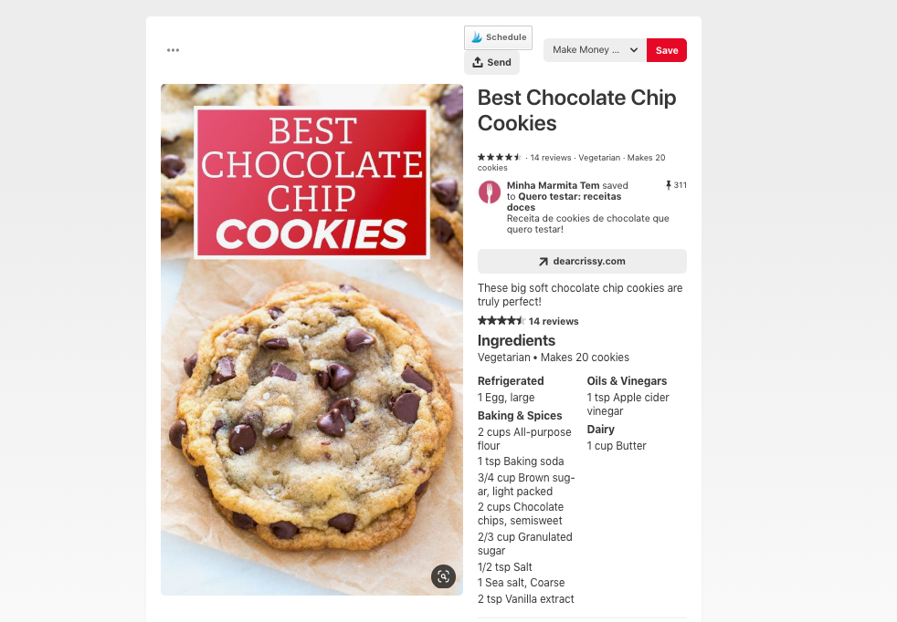 chocolate chip cookie rich pin example from pinterest