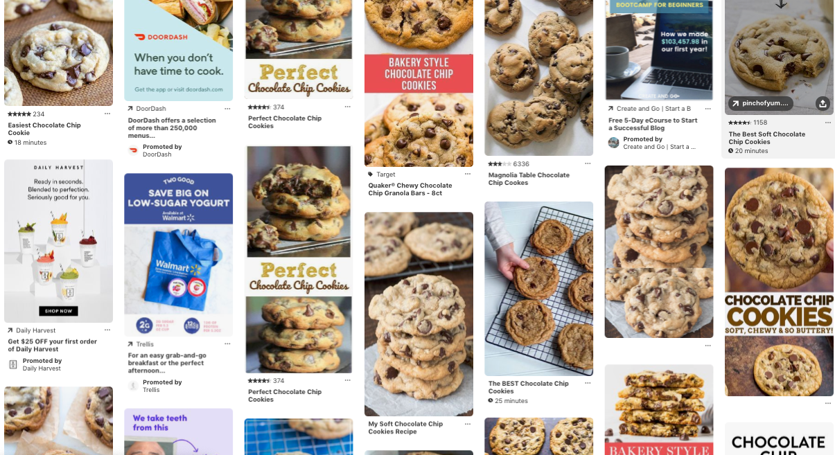 screen shot of pinterest promoted ads in feed