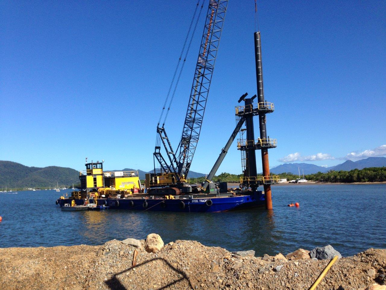 Driving piles for the shipyard upgrade.