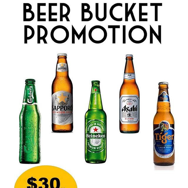 Waiting for Happy Hour? Now you don't have to wait! Enjoy our All Day, Everyday Promotion! Get a bucket of beer (5 bottles) FOR JUST $30++ Suage SG, B2-53!  Choices of Carlsberg, Asahi, Heineken, Asahi & Tiger!  Have a perfect bonding with your colleagues, family and friends after a scrumptious meal!  See you there!