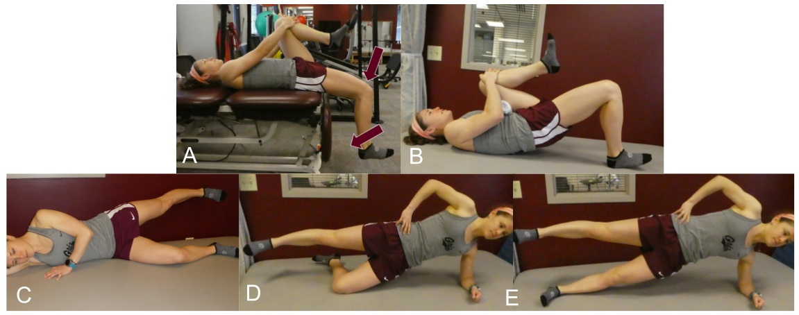 "Figure 4: Stage 1 exercises. A) ITB excursion exercise (10x10"" holds) progressing to (B) single leg bridge. Simultaneously, the runner is progressed through hip abductor progression (C-E)."