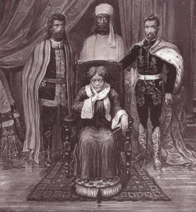 Illustration of Blavatsky with her 'Masters' (L-R) Koot Hoomi, Morya and the legendary Comte de Saint Germain