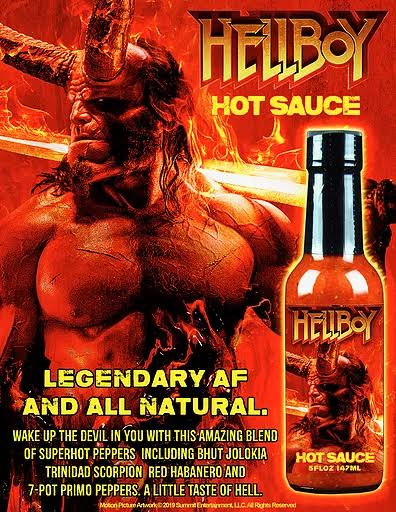 Hellboy Hot Sauce , containing a mix of Bhut Jolokia, Trinidad Scorpion, Red Habanero and 7-Pot Primo Peppers.