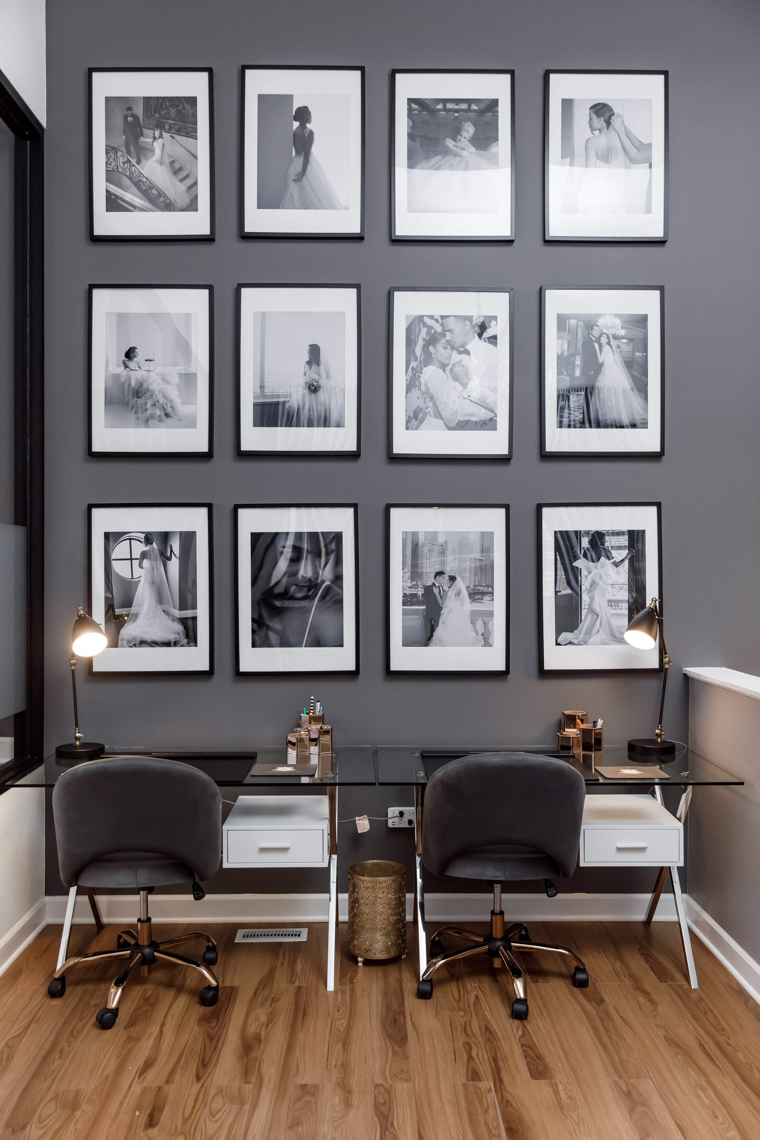 Black and White Photo Display - Kesh Events Luxury Wedding Planning and Design Boutique In Chicago