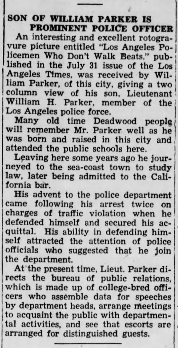 A proud hometown - By 1938, Parker was a Lieutenant, and this article from the Deadwood Pioneer-Times praised the hometown boy made good.The referenced LA Times feature is shown below.
