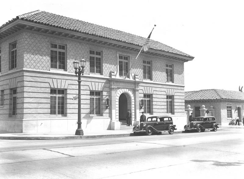 "The ""newer"" old hollywood police station and receiving hospital, located at 1358 Wilcox Avenue. On the right IS A Google Street View from the same angle OF The current - and decidedly less ornate - Hollywood Station, built in the late 70s AND located at the same site..   photo courtesy: los angeles public library"