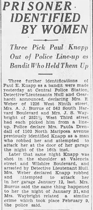 April 29, 1927: Knapp is identified as a suspect in attacks against women.