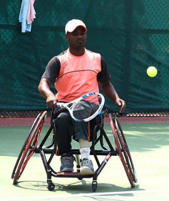 Shekar Veeraswamy during his quarterfinal match at the SATS Tennis Complex in LB Stadium.