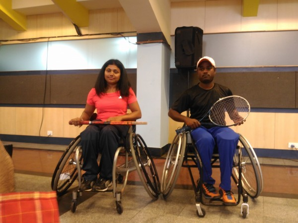 Top India wheelchair tennis players Prathima Rao (left) and Shekar Veeraswamy at the KSLTA in Bengaluru on Tuesday