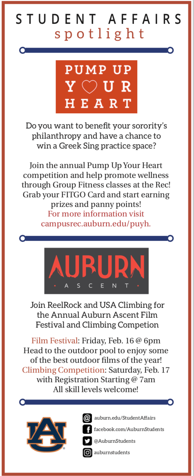 Plainsman Ad on behalf of the Campus Recreation and Wellness Center, February 2018