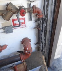 Existing utilities that obstruct steel frame installation