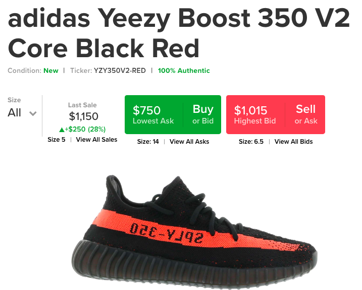 Resale prices at StockX for 5x retail