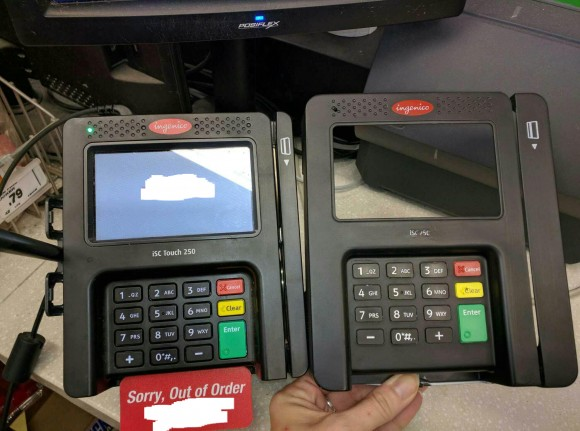 The entire front fast of this POS terminal is replicated to steal data from the magnetic strip as well as the PIN from the keypad