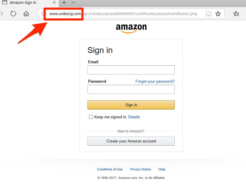 Fake Amazon login page