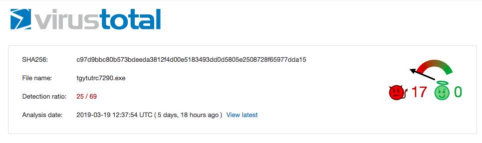 At the time of writing only 25 AV vendors have detections for LocerGoga
