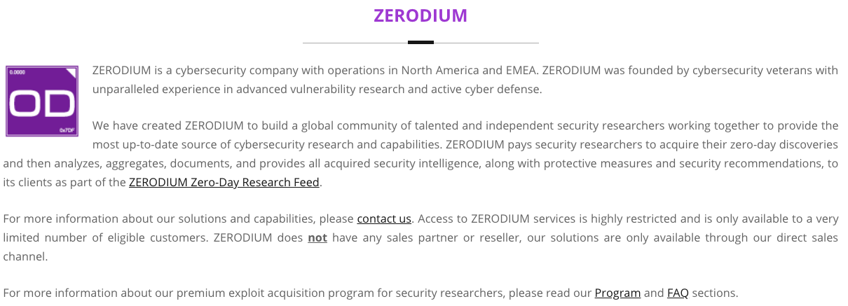 """Zerodium's """"About Us"""" page, notable missing a code of ethics or conduct."""