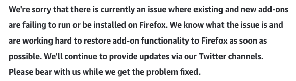 An apology from Mozilla on killing everyone's Add-Ons