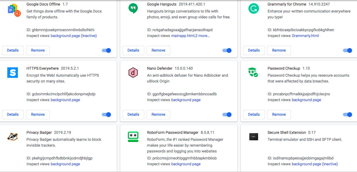 Just a sample of browser extensions on an average user's machine
