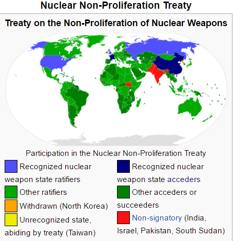 States that have signed onto the nuclear non-proliferation treaty