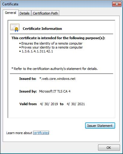 A valid SSL certificate signed by Microsoft