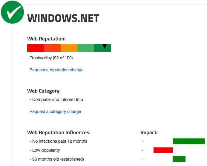 Windows.net is trusted by most security platforms