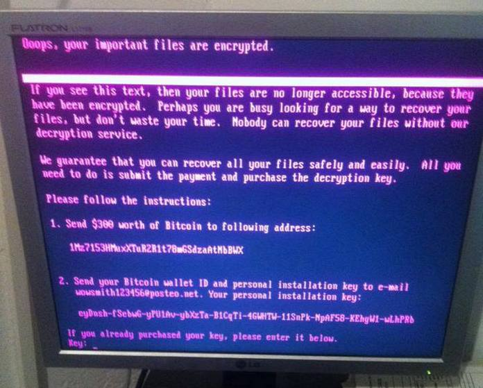 The Petya ransomware strain shows a screen with instructions on how to make payment to retrieve the decryption keys