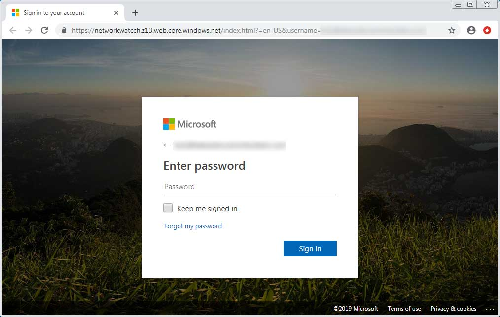 A convincing Office 365 phishing page hosted on Azure so it gets a domain that ends in windows.net