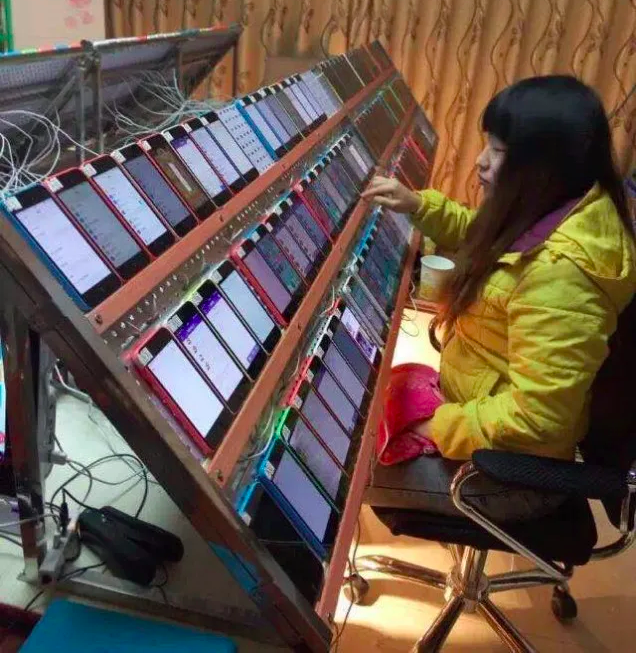 Mobile click farm in China