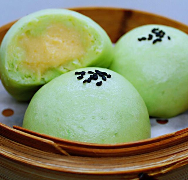 ✨ Steamed Matcha Creamy Custard Buns✨ We're serving this all of July ! 😊👏🏻