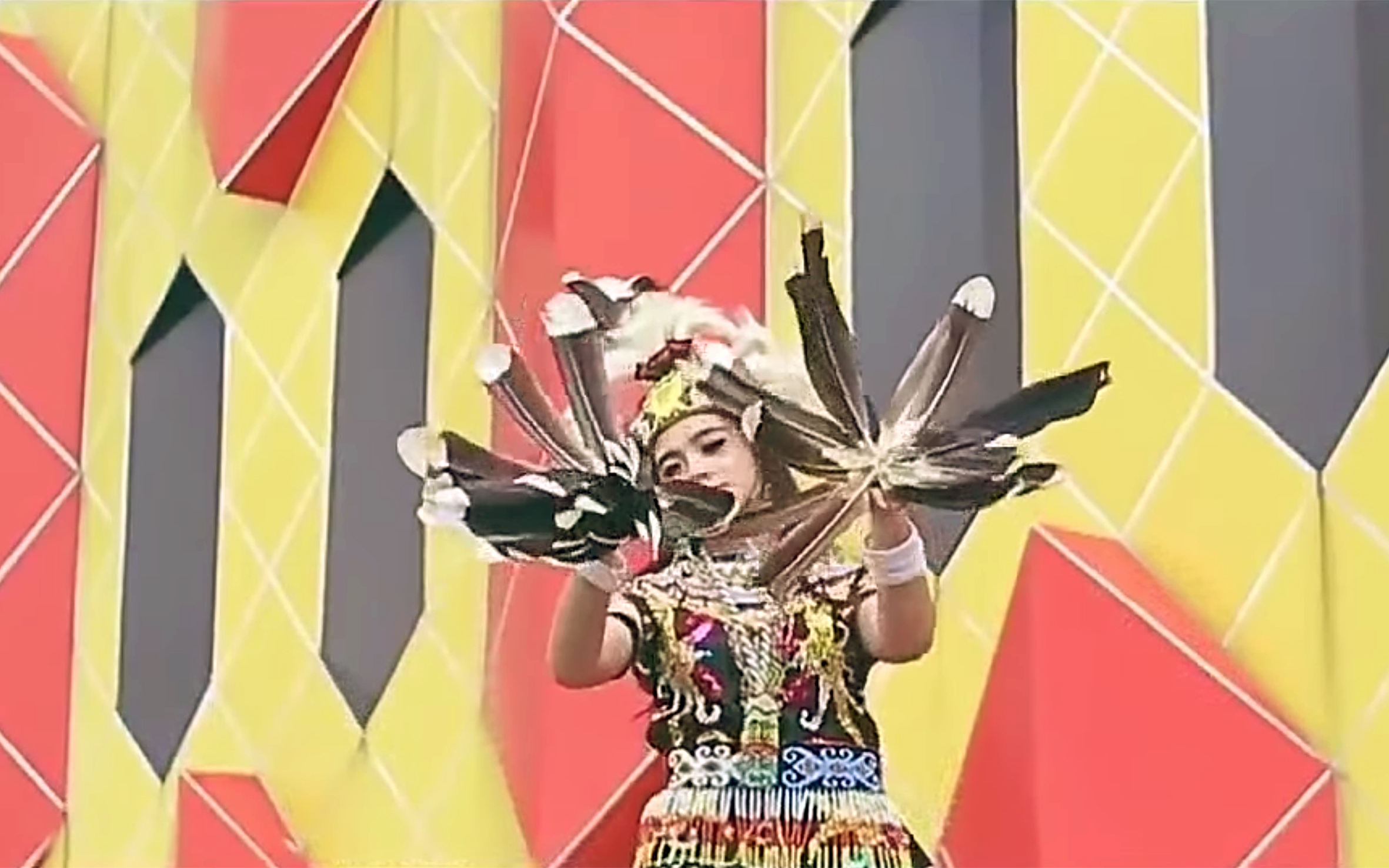 """223.Dayak Dance / Indonesia - Dayak Dance are various forms of dance performed by the Dayak people of Kalimantan (Indonesian Borneo). """"Tari Enggang"""" is inspired by the hornbill bird and dancers wear and hold hornbill feathers. Many other forms of Dayak dance are inspired by birds and feature sweeping and floating hand movements."""