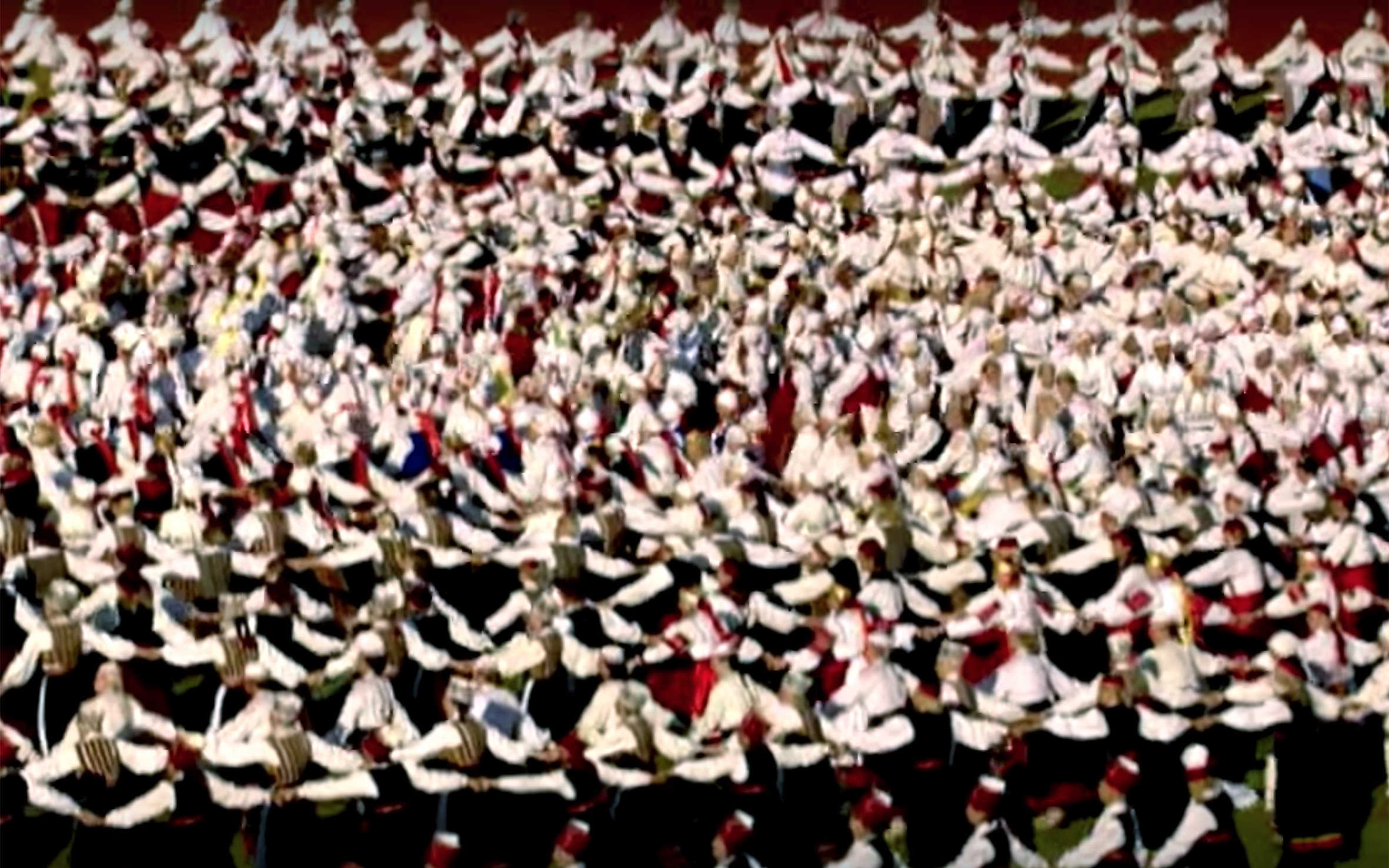 271.Estonian Folk Dance / Estonia - Estonian Folk Dance is considered to be collective, peaceful and dignified. There are no big leaps or fast and varied movements, and acrobatic elements are uncommon. It can be best characterised as a series of repeated motifs and simple patterns of movement. Repetitive motifs are actually characteristic of all Estonian folk art - they can be found in folk poems, ornamentation on belts, woodwork , etc. Old Estonians thought that dancing had a powerful and magical influence on the surrounding world. Dance was an inseparable component of festivities. Estonian folk dance consists of simple steps in a circle or in a line. A lead dancer or a pair of lead dancers would show the others the direction of steps or the sequence to be followed. Typical Estonian folk dance is Labajalavalss.