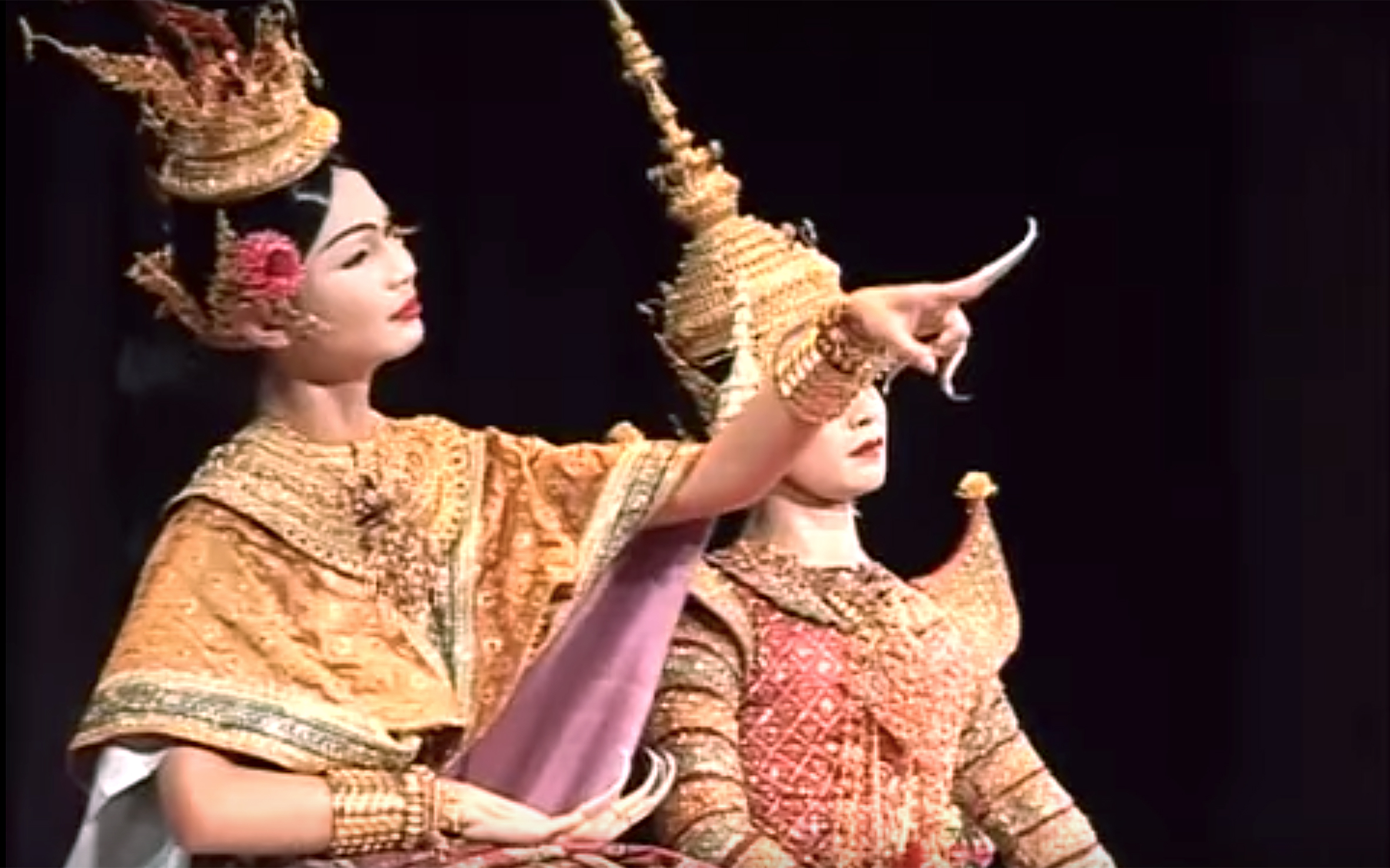 524.Lakhon / Thailand - Lakhon is a theatre in Thailand, that is composed of many different genres. There are three main categories: classical, folk, and modern. Many forms of theatre in Cambodia incorporates dance movement into performances and are referred to as dance dramas. Cambodian theatre was strongly influenced by the Siamese theatrical arts during the early 19 century. Lakhon features a wider range of stories than Khon, including folk tales and Jataka stories. Dancers are usually female and perform as a group rather than representing individual characters.