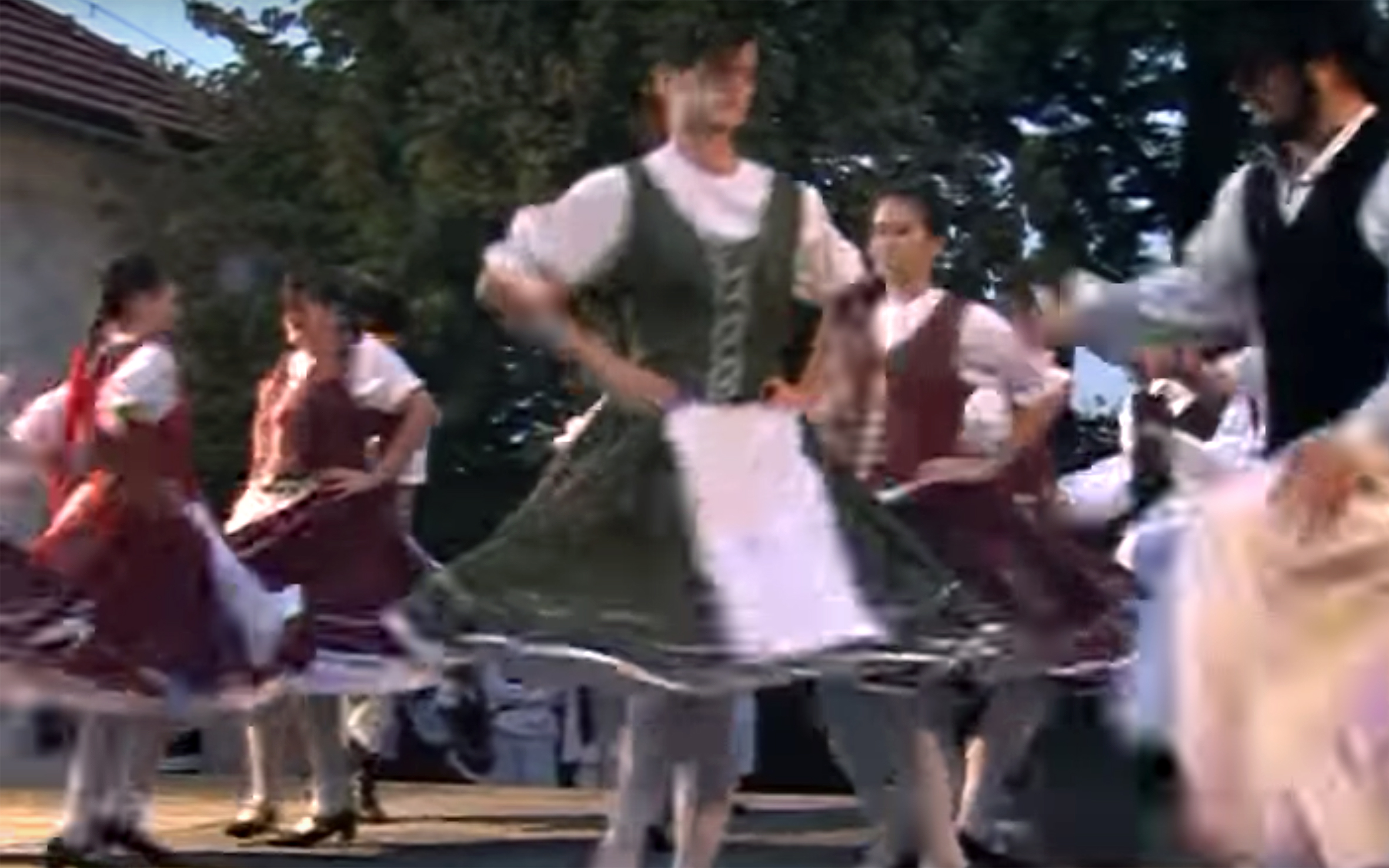927.Ugrós / Hungary - Ugrós is an athletic Hungarian couples' jumping dance in 2/4 meter with an off-beat accent similar to polkas or hasaposerviko. Its origins lay in weapon dances from the Middle Ages. Dunántúli Ugros is a couples' folk dance from Transdanubia (Dunántúl in Hungarian), the western part of Hungary.