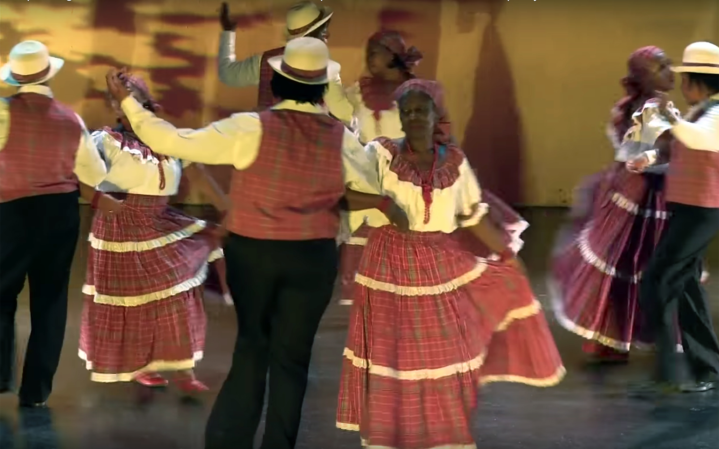 718.QUADRILLE / Guadeloupe / Jamaica - QUADRILLE is a European dance from the 18th century, which was brought by colonists into the West Indies. Most of the time the music is played with an accordion and compared to the others traditional music Quadrille is the most complex. The dance was practiced together with a partner during the slavery. Masters practiced the Quadrille in couples, while slaves only practiced the dance to make fun of the colonists. It is also danced in Jamaica.