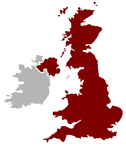 The United Kingdom (coloured in red) with the Republic of Ireland in grey.
