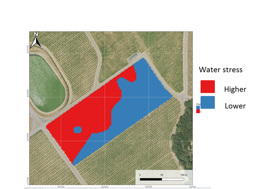 Figure 4. Water stress clustering at the research site